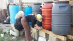 setting up the rain barrels
